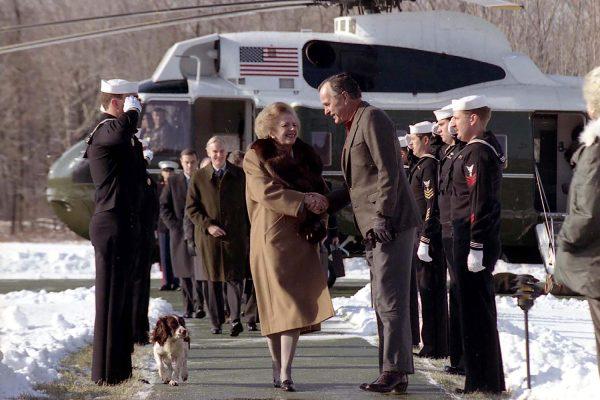 President George H.W. Bush greets Prime Minister Margaret Thatcher of the United Kingdom at Camp David, Maryland, November 24, 1989