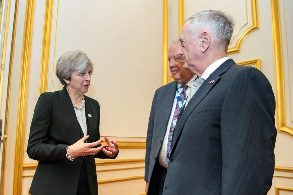 British prime minister Theresa May speaks with the American secretary of defense, James Mattis, at Lancaster House in London, England, May 11