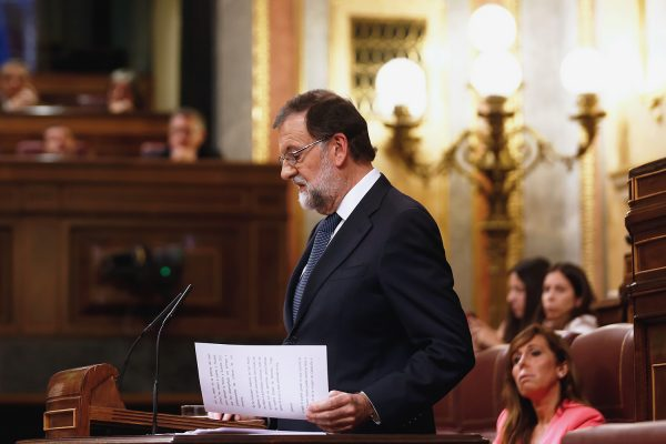 Spanish prime minister Mariano Rajoy makes a speech in parliament in Madrid, October 11