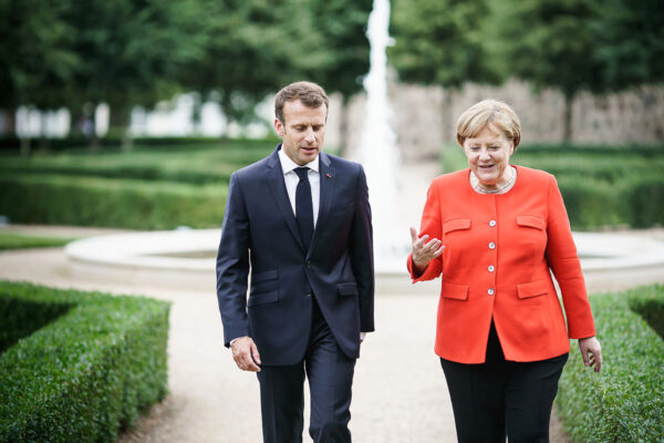 French president Emmanuel Macron and German chancellor Angela Merkel meet in Meseberg, June 19, 2018