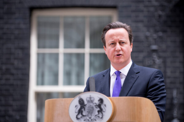 British prime minister David Cameron delivers a statement outside 10 Downing Street in London, England, February 20
