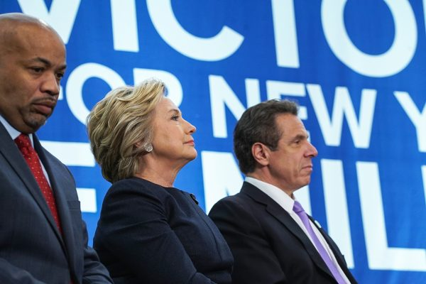 Former American secretary of state Hillary Clinton and Governor Andrew Cuomo of New York attend a political event in New York City, April 4, 2016