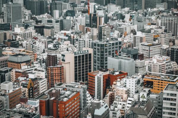 The skyline of Tokyo, Japan