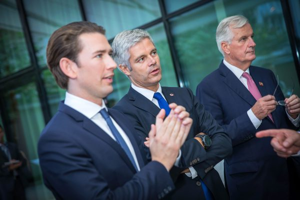 Austrian chancellor Sebastian Kurz, French Republican party leader Laurent Wauquiez and Brexit negotiator Michel Barnier attend a meeting of European conservative party leaders in Salzburg, September 19, 2018